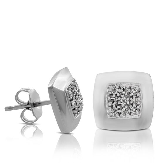 Diamond Pavé Square Earrings in Sterling Silver