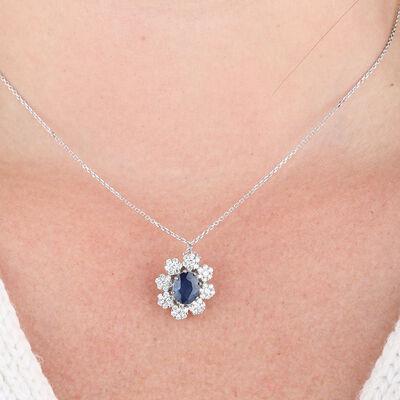 Sapphire & Diamond Halo Necklace 14K