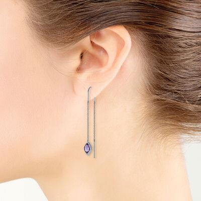 Amethyst Drop Earrings 14K