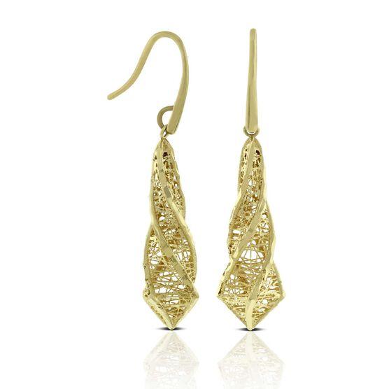 Toscano Microfusion Twisted Drop Earrings 14K