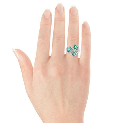 Emerald & Diamond Cluster Ring 14K