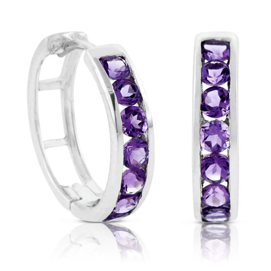 Amethyst Hoop Earrings 14K