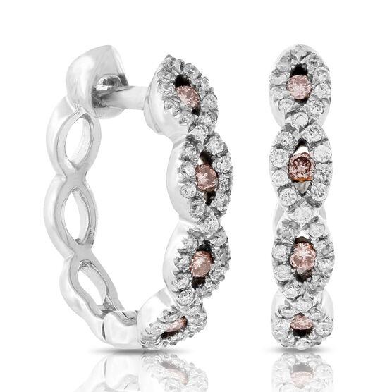 Pink & White Diamond Hoop Earrings 14K