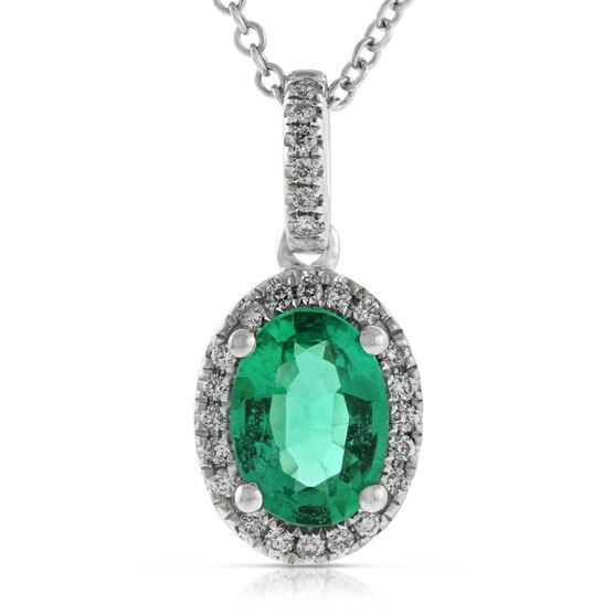 Oval Emerald & Diamond Pendant 14K