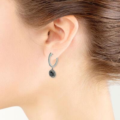 Black & White Diamond Hoop Earrings 14K