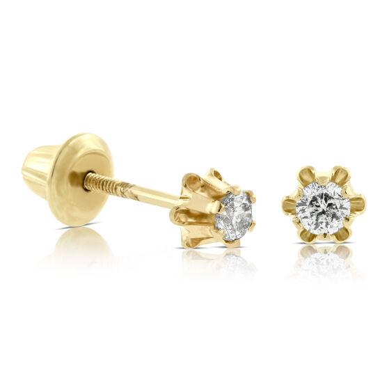 Baby Diamond Earrings 14K