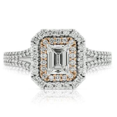 Emerald Cut Diamond Engagement  Ring 14K
