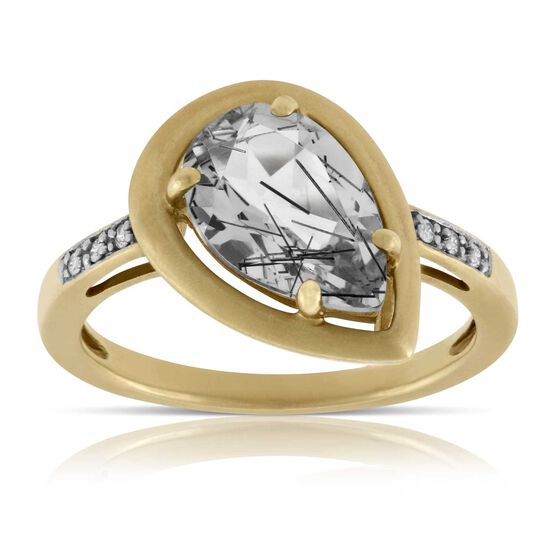 Rutilated Quartz & Diamond Ring 14K