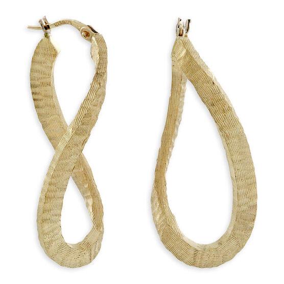 Toscano Textured Wavy Hoop Earrings 14K