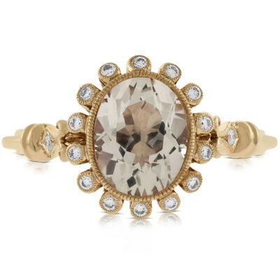 Rose Gold Morganite & Diamond Halo Ring 14K