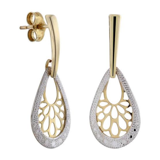 Pear Shaped Filigree Earrings 14K