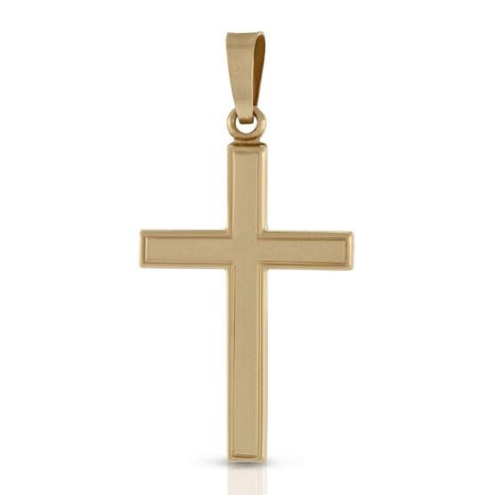 Engraved Cross Pendant 14K