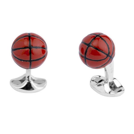 Deakin & Francis Baseketball Cufflinks in Silver
