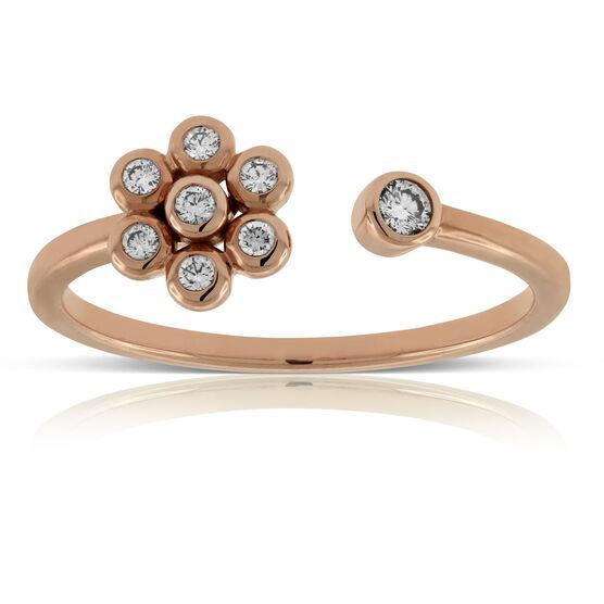 Rose Gold Open Flower Diamond Ring 14K