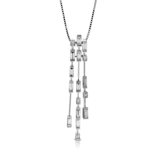 ICE FALL Baguette Cut Triple Dangle Diamond Pendant 14K