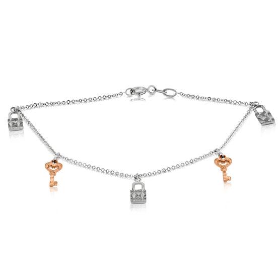 Key & Lock Charm Bracelet 14K