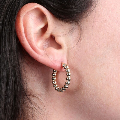 Toscano Beaded Hoop Earrings 14K