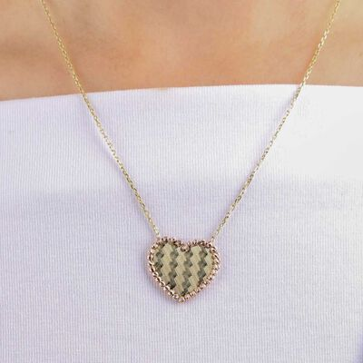 Rose & Yellow Gold Toscano Heart Necklace 14K