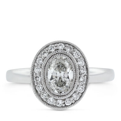 Oval Halo Diamond Ring 14K