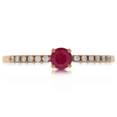 Rose Gold Ruby & Diamond Ring 14K