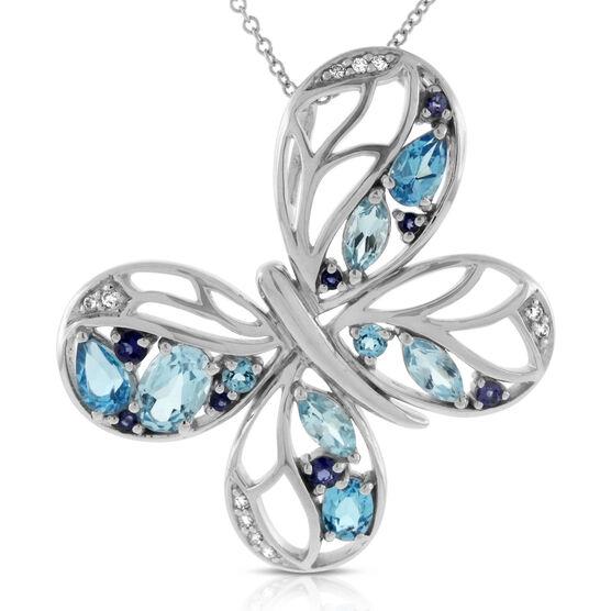 Gemstone & Diamond Butterfly Pendant 14K
