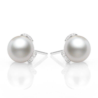 Mikimoto Akoya Cultured Pearl & Diamond Earrings, 8mm, 18K