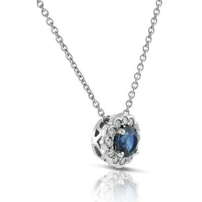 Sapphire & Diamond Halo Pendant 14K