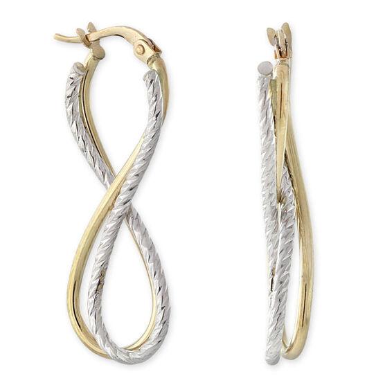 Double Curl Hoop Earrings 14K