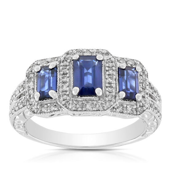 Sapphire & Diamond Three-Stone Ring 14K