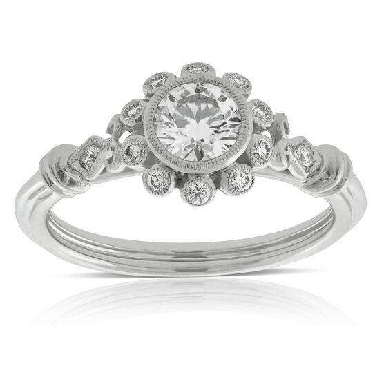 Beaded Bezel Set Diamond Engagement Ring 14K