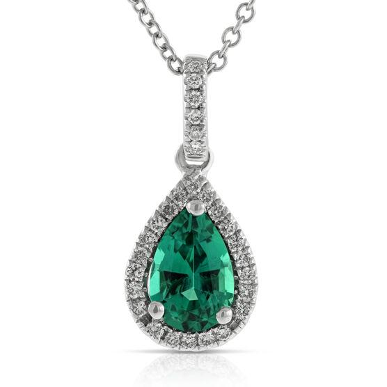 Pear Emerald & Diamond Pendant 14K