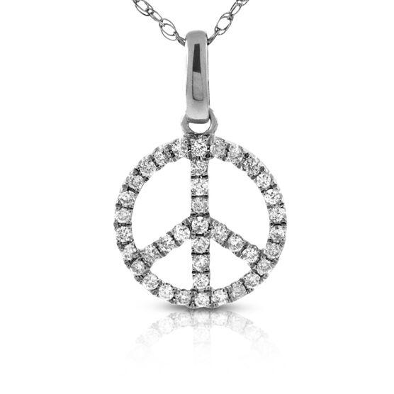 Diamond Peace Symbol Pendant 14K