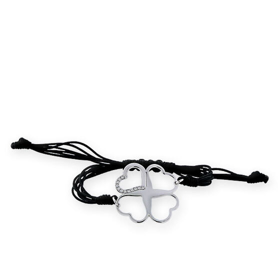 Open Four Leaf Clover Bracelet in Sterling Silver
