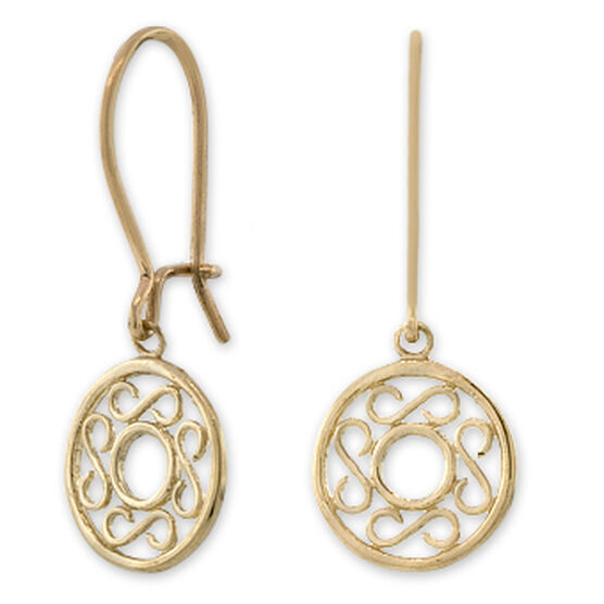 Dangle Circle Earrings 14K