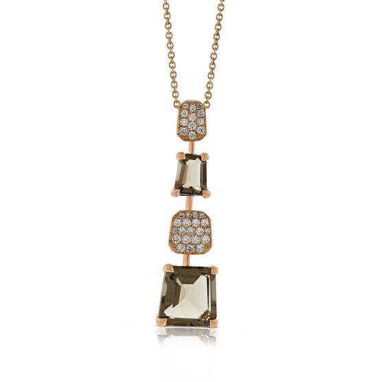 Rose Gold Smoky Quartz & Diamond Pendant 14K