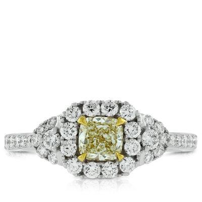 Yellow Cushion Cut Diamond Ring 18K