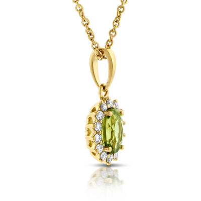Peridot & Diamond Halo Pendant 14K