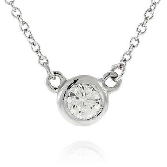 Diamond Solitaire Necklace 14K