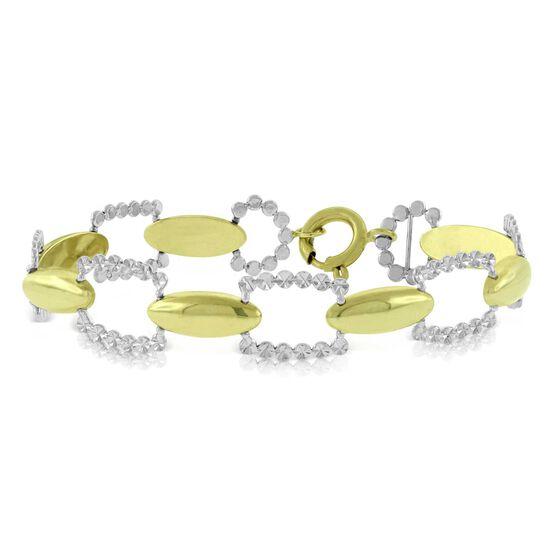 Toscano Cushion Link Two-Tone Bracelet 14K