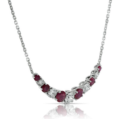 Ruby & Diamond Necklace 14K