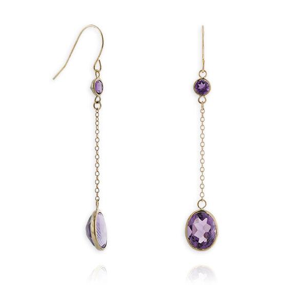 Amethyst Dangle Earrings 14K