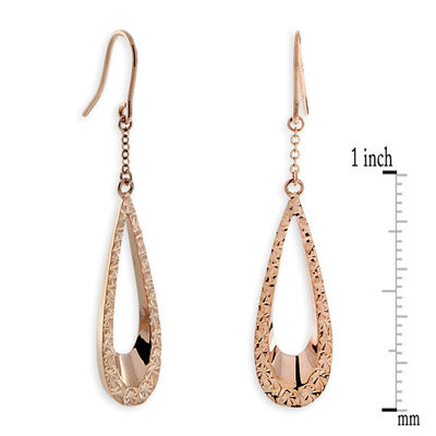 Rose Gold Pear Shaped Dangle Earrings 14K