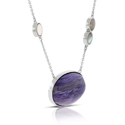 Lisa Bridge Charoite & Mother of Pearl Necklace