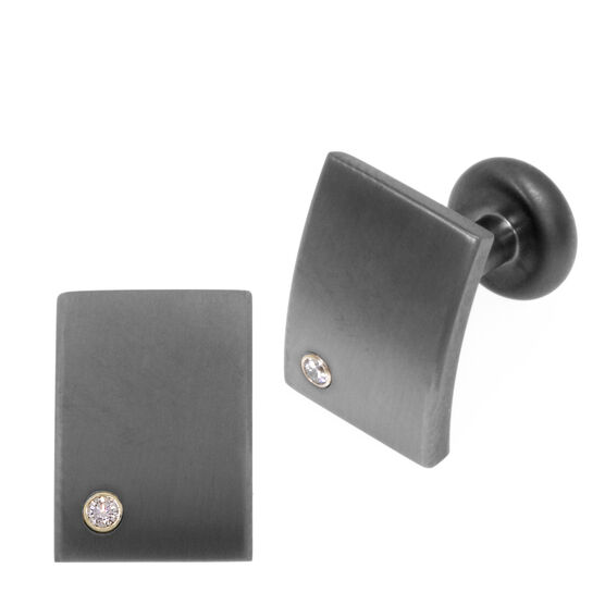 Diamond Cuff Links in Titanium