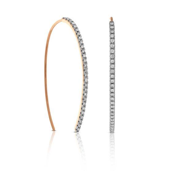 Rose Gold Threader Hoop Diamond Earrings 14K