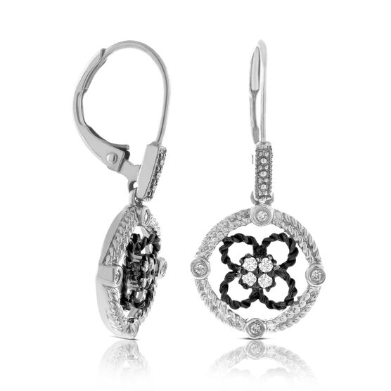 Diamond Black Rhodium Earrings 14K