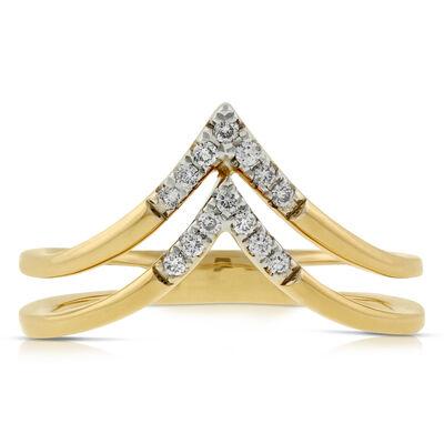 Double Chevron Diamond Ring 14K