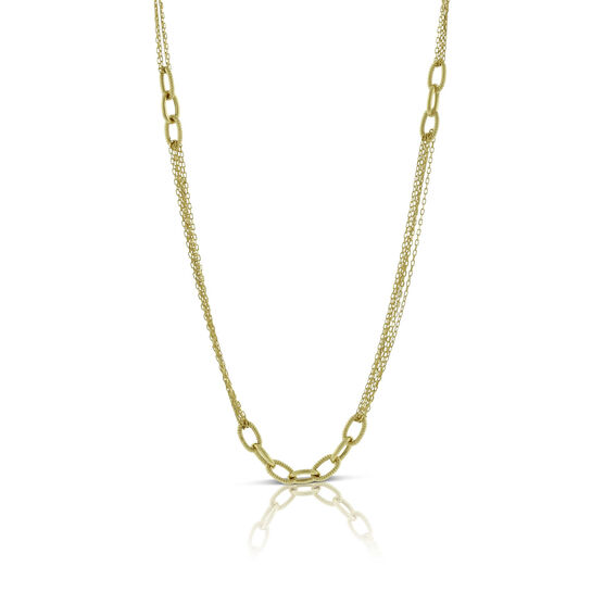 Multi Strand Oval Link Necklace 14K