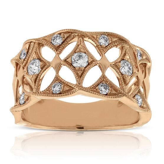 Rose Gold Filigree Diamond Band 14K
