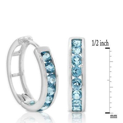 Blue Topaz Hoop Earrings 14K